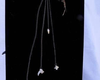 SALE - Silver ear wrap with feather and bones
