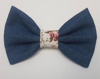 Denim/Floral Dog Bow tie