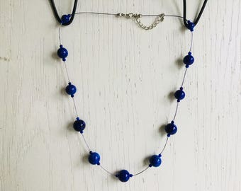 Floating blue purple necklace