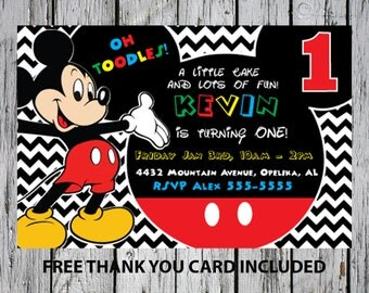 24hrs Turn around time Mickey mouse 1st birthday invitation, Mickey digital invitation, Mickey invitation, Mickey mouse printable invitation