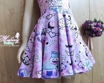 Magic cats - pastel goth skater dress, kawaii Halloween skater dress, fairy kei dress, cute skater dress, creepy cute dress -  SD30