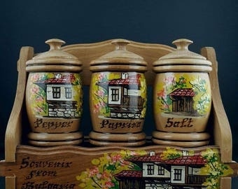 Spice jars - Wooden jars for spices - Wood cask for spices - Set of 3 wooden pots - Wooden pots with lids -  Kitchen Utensils - Hand-painted