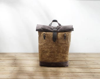 Backpack with roll up top/Waxed canvas backpack/Travel Rucksack/Waxed Rucksack/Uni backpack