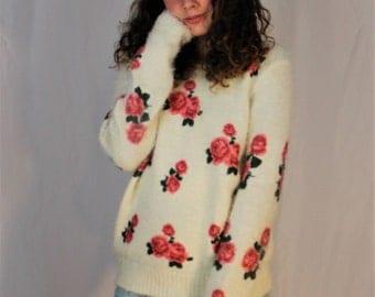 Fuzzy Rose Sweater