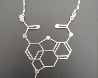 Heroin molecule necklace Heroin necklace Heroin charm opioid necklace