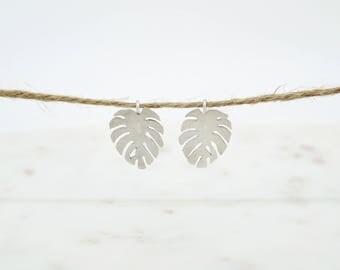 Monstera Leaf Cutout Earrings in Sterling Silver-modern earrings-leaf earrings-cutout earrings
