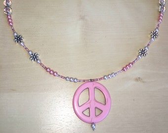 Beaded Pink Peace Sign Necklace