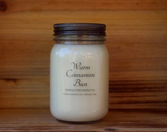 Warm Cinnamon Bun 16 oz. Soy Candle-Soy Candles Homemade-Hand Poured-Highly Scented-Mason Jar Candles-All Natural Soy Candles-Summer Scented