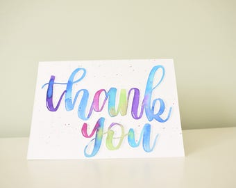 Individually hand painted, hand lettered, bright multicoloured thank you card