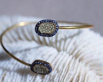 Bangle silver plated gold set with Sapphire