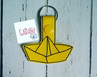 Paper Boat Key Chain Snap Tab Embroidery Design 4X4 size.