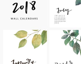 2018 Wall Calendars, 2018 calendars, 2018 planners, 2018, calendars, wall calendars, hand lettering, calligraphy, monthly planner, leaves