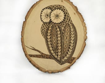 Geometric Owl Woodburned Plaque | Original Art | Geometric Design | Owl Decoration