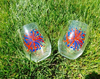 4th of July Fireworks stemless wineglasses