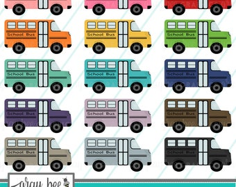 SALE- School Bus- Clipart Set, Commercial Use, Instant Download, Digital Clipart, Digital Images- MP228