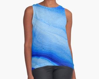 Original Art Print Contrast Tank Top Shirt - Ocean Waves