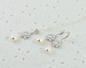 Cubic Zirconia Crystal Pearl Bridal Jewellery Set Bridal Earrings Necklace Crystal Pearl Jewellery Set Bridesmaids Silver Wedding Bridal Set