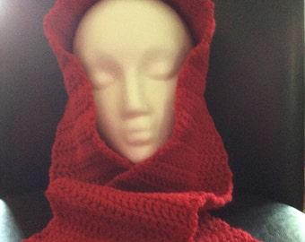 Crochet Scarf / Red