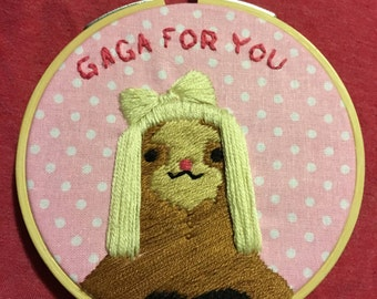 Lady Gaga sloth embroidery