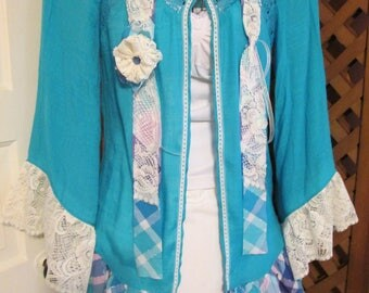 Up cycled blouse 3 pc set scarf necklace SjDesigns