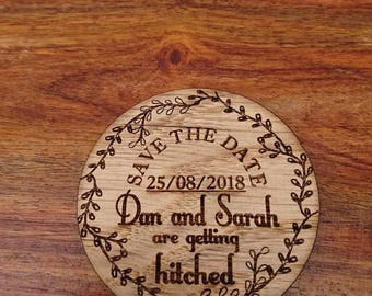 Save the date fridge magnets. Made from Oak and personalised with a laser engraver