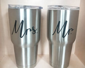Mr and Mrs Tumblers // Mr and Mrs Cups // Newly Wed Tumblers // Newly Wed Gift // His and Hers Pool Tumbler // Poolside Engagement Gift