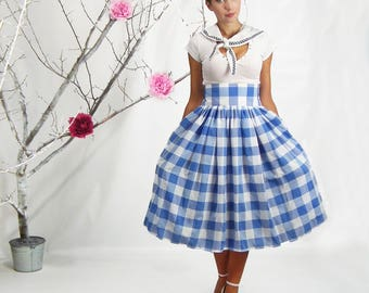 1950 Skirt, High Waisted Skirt, Plus Size High Waisted Skirt, Gingham Skirt, Plus Size 1950, Plus Size 1950 Skirt, Retro Skirt, Checkered
