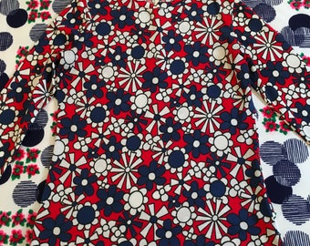Vintage Red White and Blue Flower Power Floral Daisy Long Sleeve Groovy Shirt