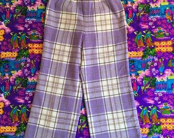 Vintage Pendleton Purple Lavender Wool Plaid Pants Lined High Waisted Wide Leg Side Zipper 1970s