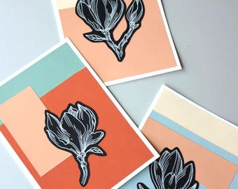 3 handmade colorful greeting cards, magnolia flower postcard