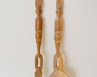 Wooden serving spoons, hand carved spoons, boho decor