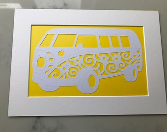 VW Campervan paper cut art - Wall art - VW campervan - A4 mounted - yellow and white