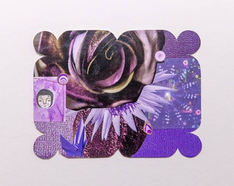 purple, original paper collage