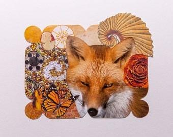orange, original paper collage