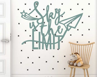 Sky is the limit Wood Cut Out, Kids wall decor, wall hangings for kids room
