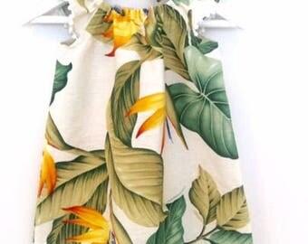 Natural Yellow & Green Bird of Paradise flutter dress