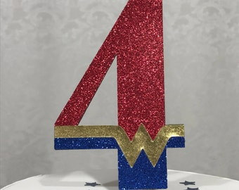 Wonder Woman Inspired 4 Cake Topper - 4th / Four / Fourth / Girl's Glitter Birthday Party Decor