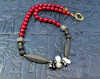 Mali Wedding Bead Necklace in Black, White, and Red