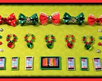 Littlest Pet Shop LPS Custom Holiday Christmas Accessories 5 Pc Set - 1 Bow 1 Collar 1 Phone/Tablet 1 Earrings + Gift Bag