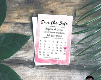 Watercolour Save The Date Cards   Personalised Wedding Save The Date, Calendar Style Cards, Pink, Red, Blue, Green, Purple