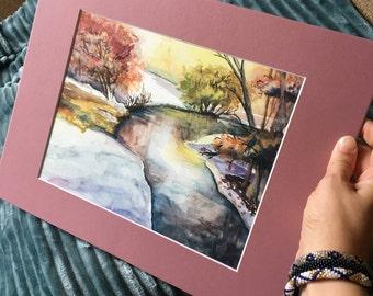 Watercolor Print Wall Art, Spring River