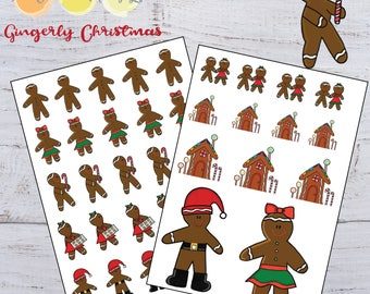 Gingerbread Stickers-Christmas Stickers-Gingerbread Man Stickers-Planner Stickers-Printable Stickers-Holiday Stickers-Instant Download