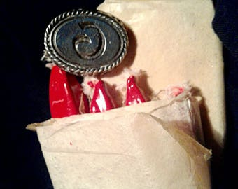 Wax Seal Monogram Initial Letter 'G' Adjustable Ring + 8 Red Wax Sticks.