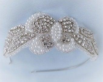 Bridal headband, Flower girl,Headpiece,Prom,Rhinestone,Wedding,Bridesmaid, Halo,Bridal hair accessary