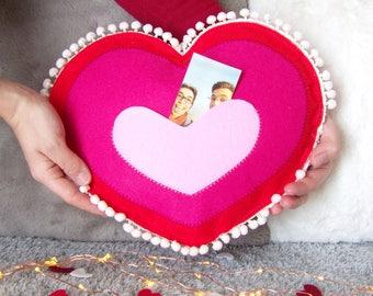 Felt Pillow Heart with pocket for photos, Felt Pillow Heart with Pompom, Gift Valentine's Day for Him or Her