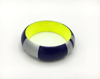 Handmade  bright wooden bangle in royal blue, neon yellow and silver