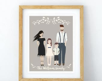 Family Portrait, Customized Family Portrait Illustration, Printable Portrait Illustration, Custom Portrait, Family Illustration