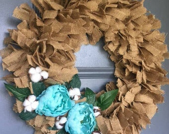 "Burlap Floral Wreath - approx 20"" -  Rustic - Shabby Chic - Front Door Wreath - Home Decor"