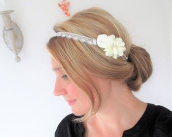 Wedding headband lace and flowers ivory-wedding party-romantic, Bohemian and chic.