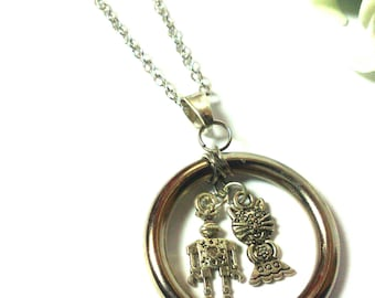 Necklace Silver Circle Robot Cat - Necklace - Minimalist - Silver Pendant - Valentine's Day Gift - For Girls / Women - Fashion Set